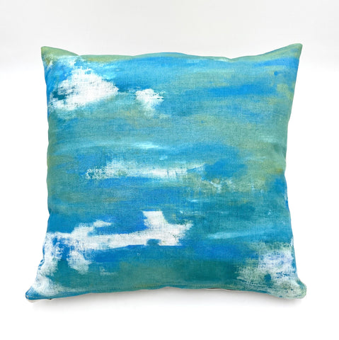 Peacock Blue Mist Hand-Painted Pillow