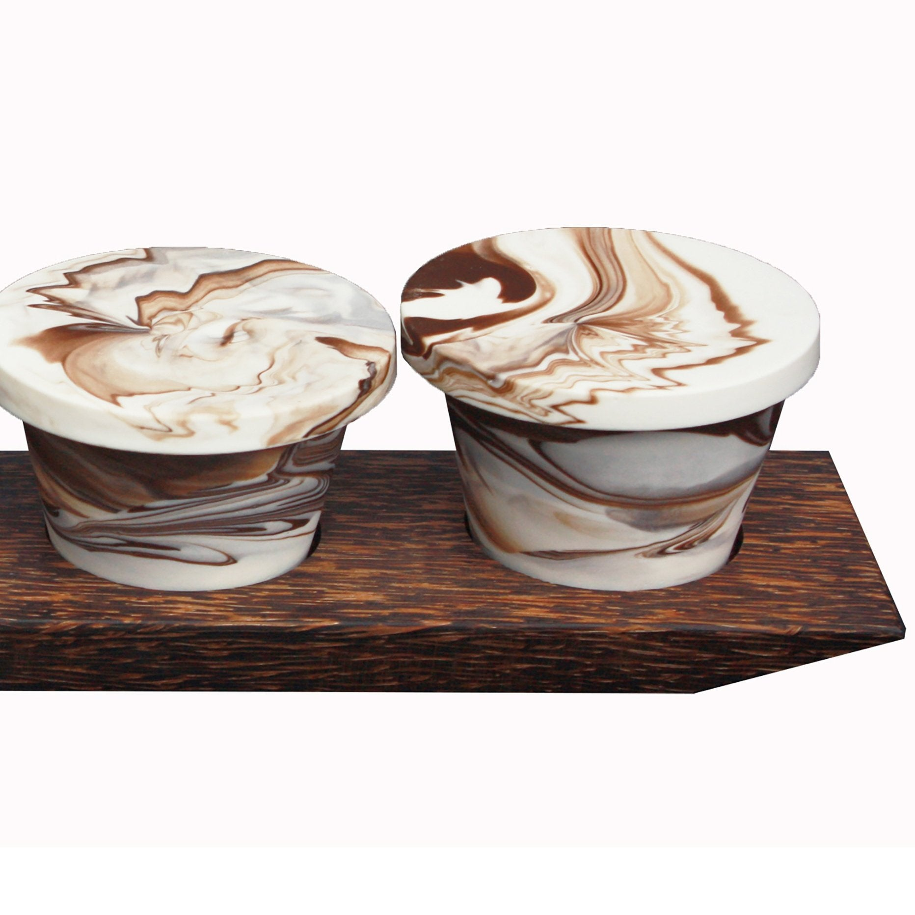 These handmade espresso cups are created with a unique combination of high-quality porcelain ceramic clays. Each set comes with four 4 oz. Cups with a lid/coaster and a beautiful serving tray made from Black Palmwood. Durable for everyday use. Microwave and dishwasher safe.