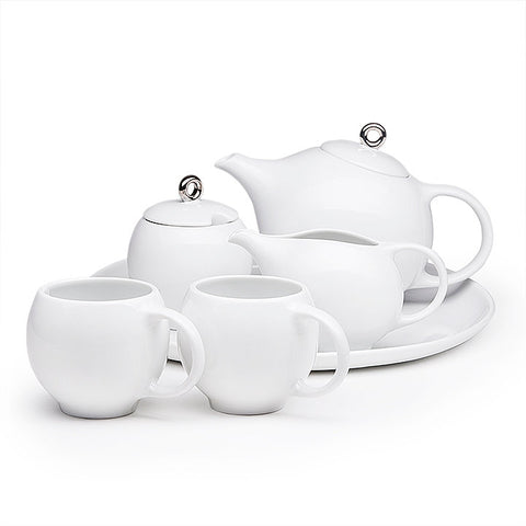 Eva White Tea Set, Set of 6