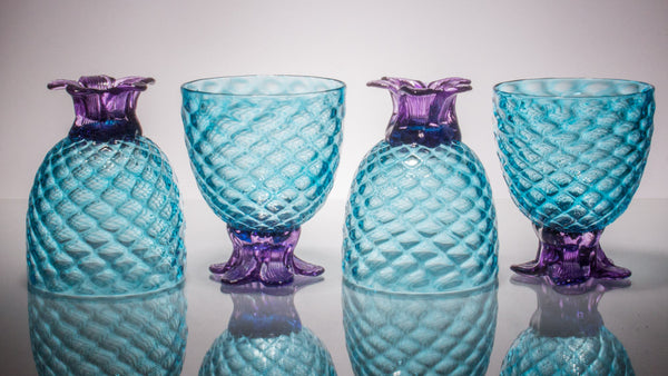 Aqua Pineapple Goblet, Set of 2