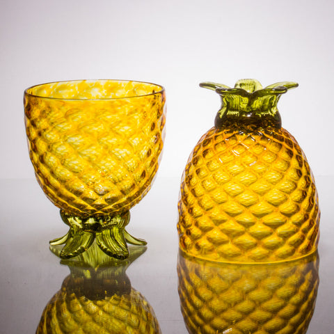 Gold Pineapple Goblet, Set of 2