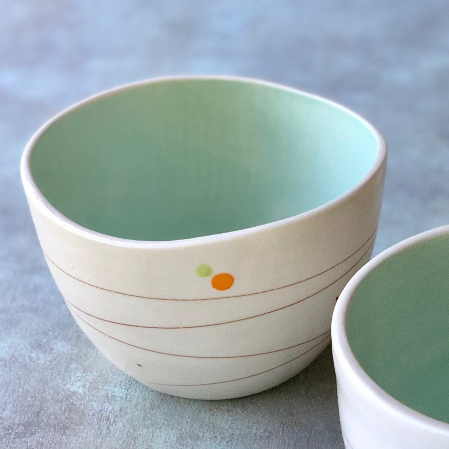 Playful Dots Orange & Green Cereal Bowl, Inner Green