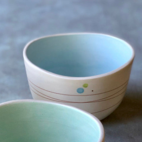 Playful Dots Blue & Green Cereal Bowl, Inner Blue