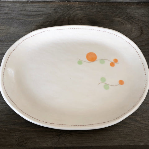 Playful Dots Orange & Green Oval Plate