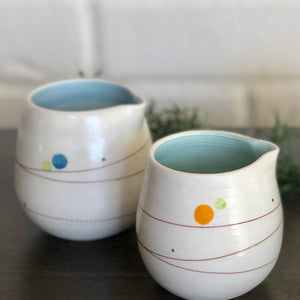 Playful Dots Blue & Green Sugar Pot & Creamer Set, Inner Blue
