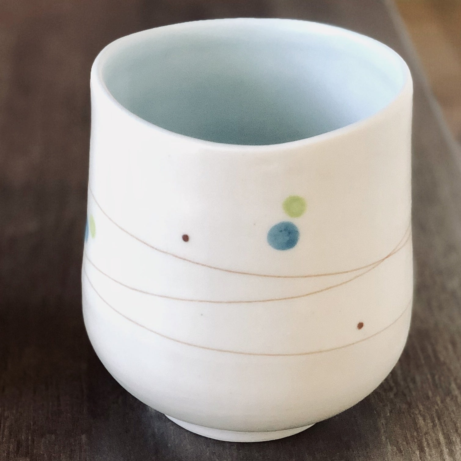 Playful Dots Blue & Green Cup, Inner Blue