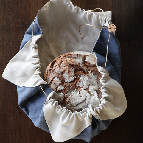 Posie Drawstring Bread Bag Indigo