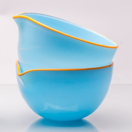 Sky Blue Spouted Glass Pouring Bowl, Small