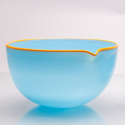 Sky Blue Spouted Glass Pouring Bowl, Large