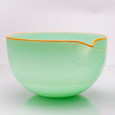 Sea Foam Green Spouted Glass Pouring Bowl, Large