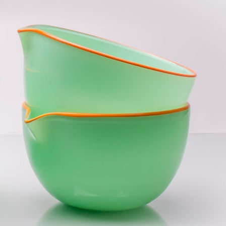 Sea Foam Green Spouted Glass Pouring Bowl, Small