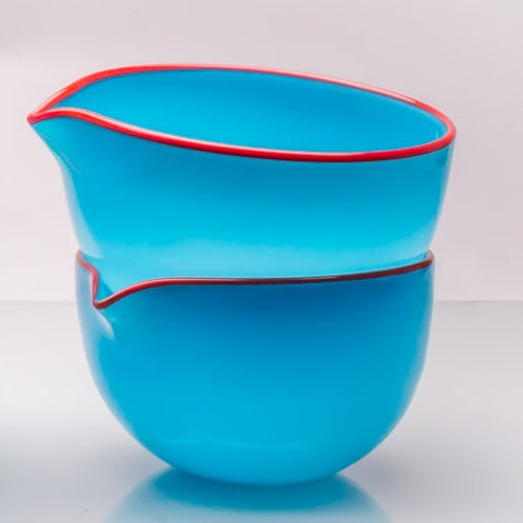 Turquoise Spouted Glass Pouring Bowl, Small