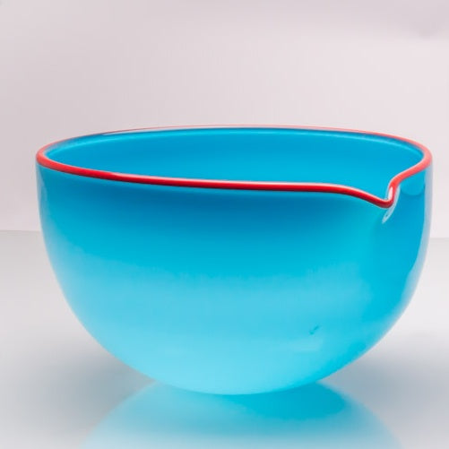 Turquoise Spouted Glass Pouring Bowl, Large