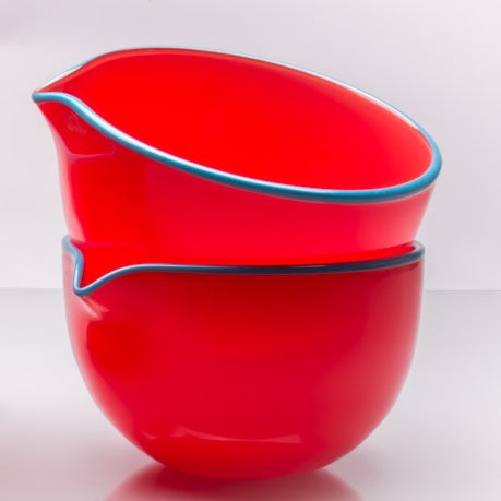 Crimson Red Spouted Glass Pouring Bowl, Small