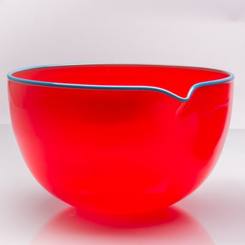 Crimson Red Spouted Glass Pouring Bowl, Large