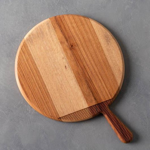 Pecan Round Cutting Board With Handle