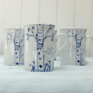 Birch Personalized Mugs, Set of 4