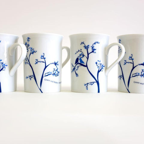 Love Birds Personalized Mugs, Set of 4