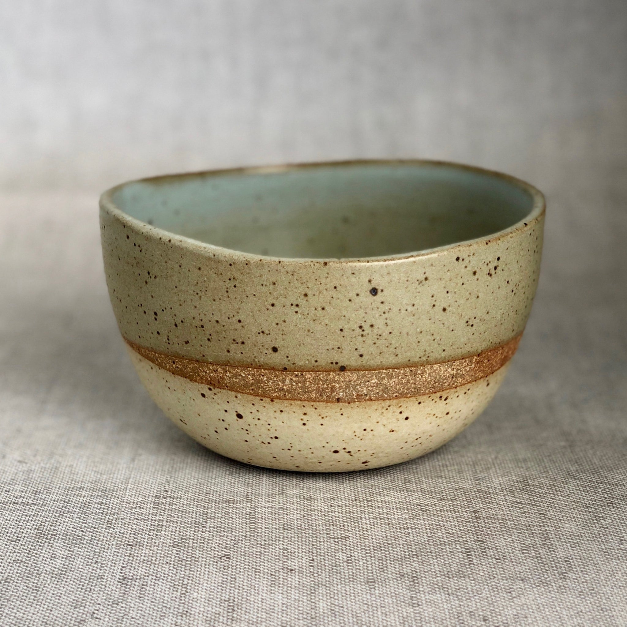 Seafoam Green & White Cereal Bowl