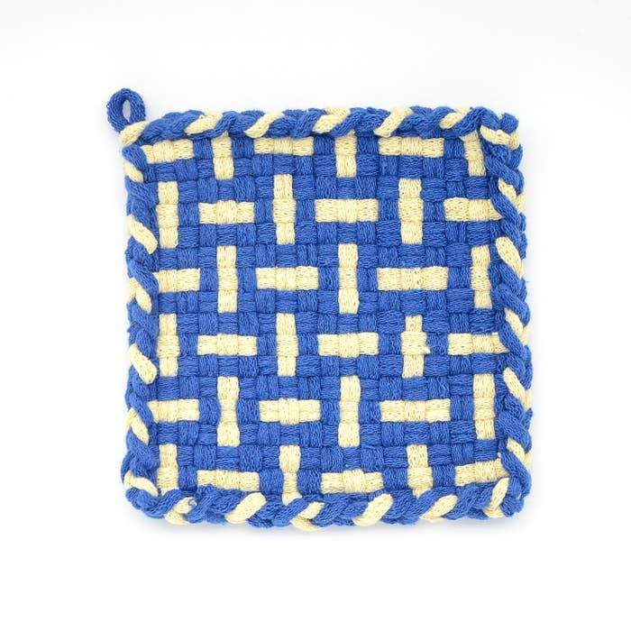 SEEDLING Blue & Yellow Handwoven Potholder