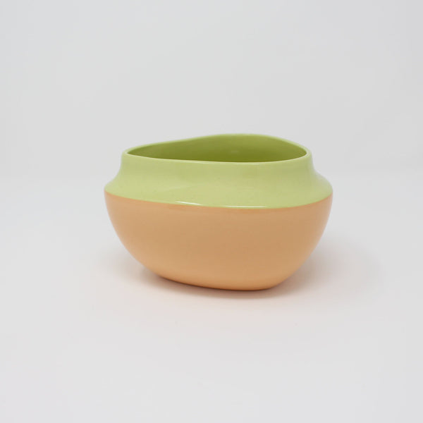 E. Lo Ceramic Top Curve Cereal Bowl Chartreuse Orange
