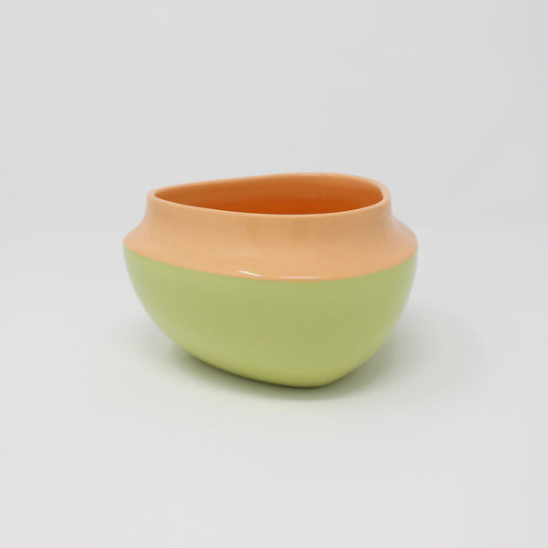 E. Lo Ceramic Top Curve Cereal Bowl Orange Chartreuse