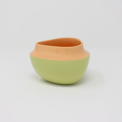 E. Lo Ceramic Top Curve Berry Bowl Orange Chartreuse