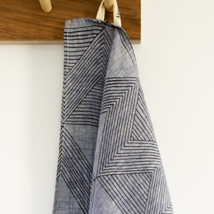 Navy Zig Zag Chambray Tea Towel