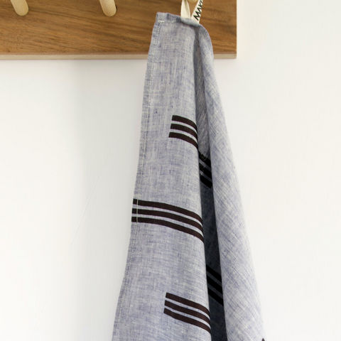 Navy Lines Chambray Tea Towel