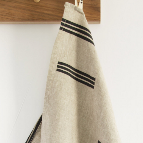 Charcoal Lines Stone Tea Towel