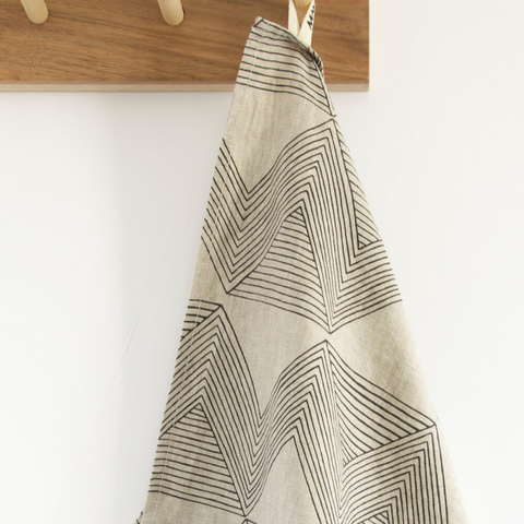 Charcoal Zig Zag Stone Tea Towel