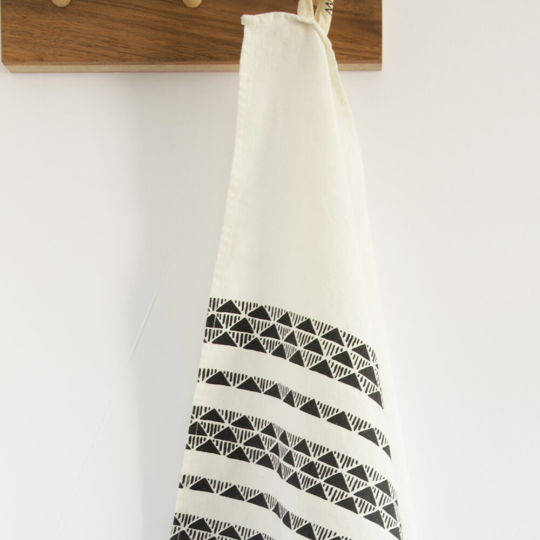 Charcoal Triangle Ivory Tea Towel