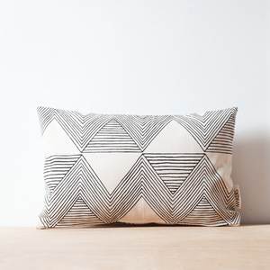 Charcoal Zig Zag Lumbar Teeny Pillow