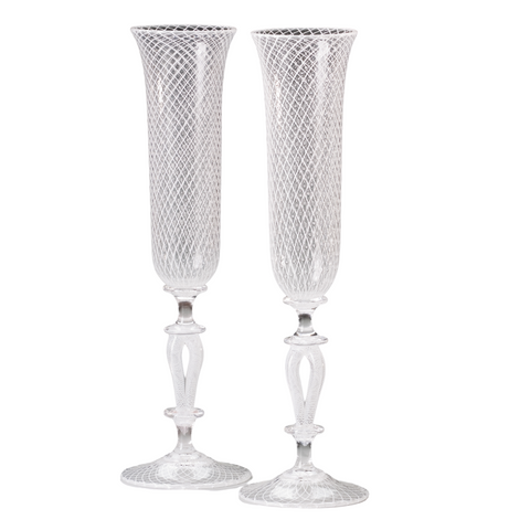 Retichello Bridal Champagne Flutes, Set of 2
