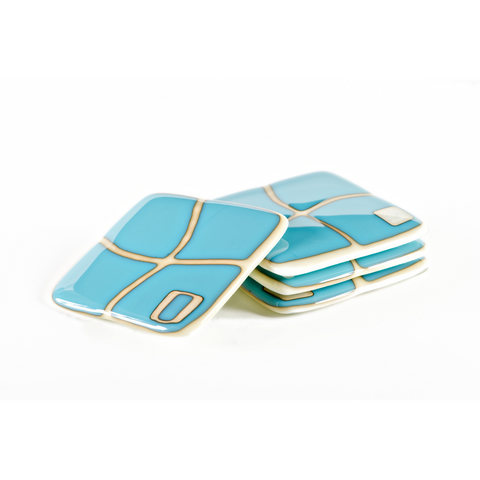Turquoise Mod Squad Coasters, Set of 4