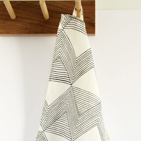 Charcoal Zig Zag Ivory Tea Towel