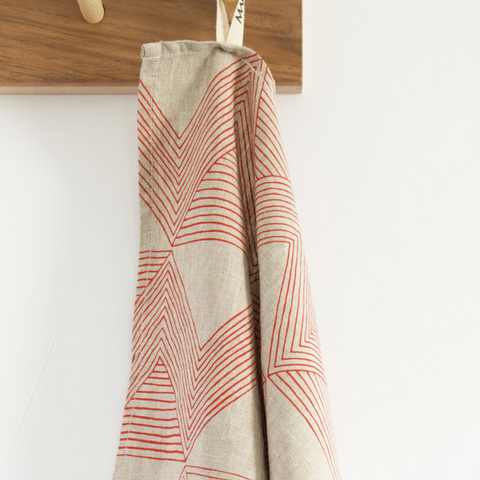 Red Zig Zag Stone Tea Towel