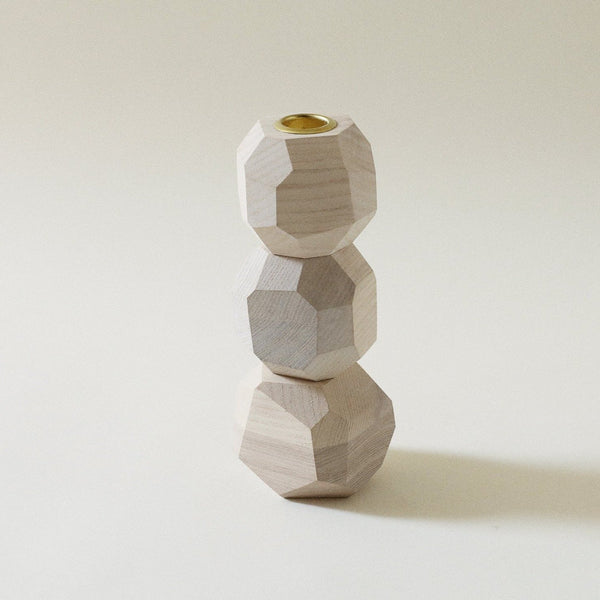 Ugo Stacked Ash White Candlestick Holder