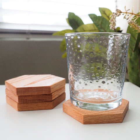 Hexagon Wooden Coasters, Set of 4