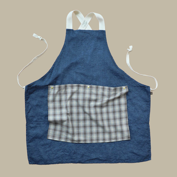 The Rowan Apron Indigo with Brown Blue Flannel Flounce