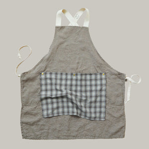 The Rowan Apron Khaki with Brown Blue Flannel Flounce