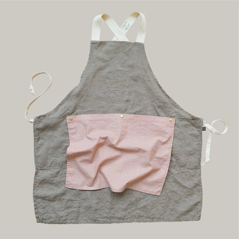 The Rowan Apron Khaki with Pale Rose Flounce