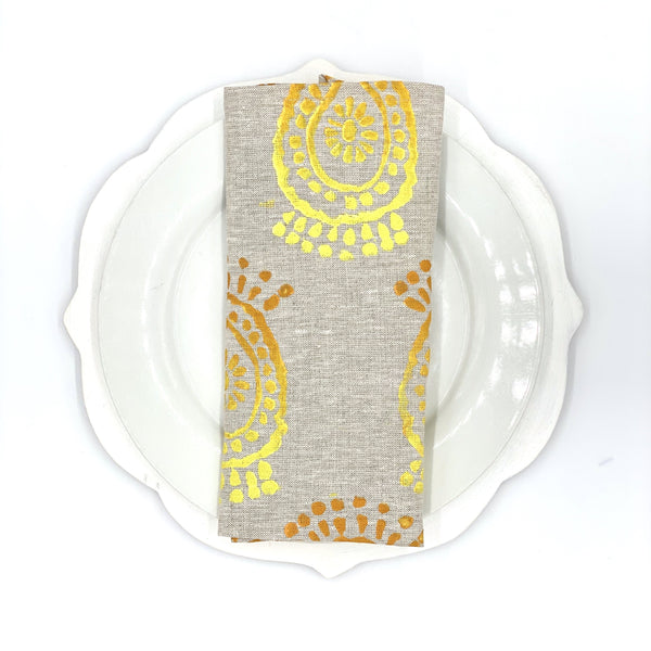 Pineapple Flower Ombré Linen Napkins, Set of 4