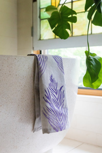 Feather Ombré Linen Tea Towel