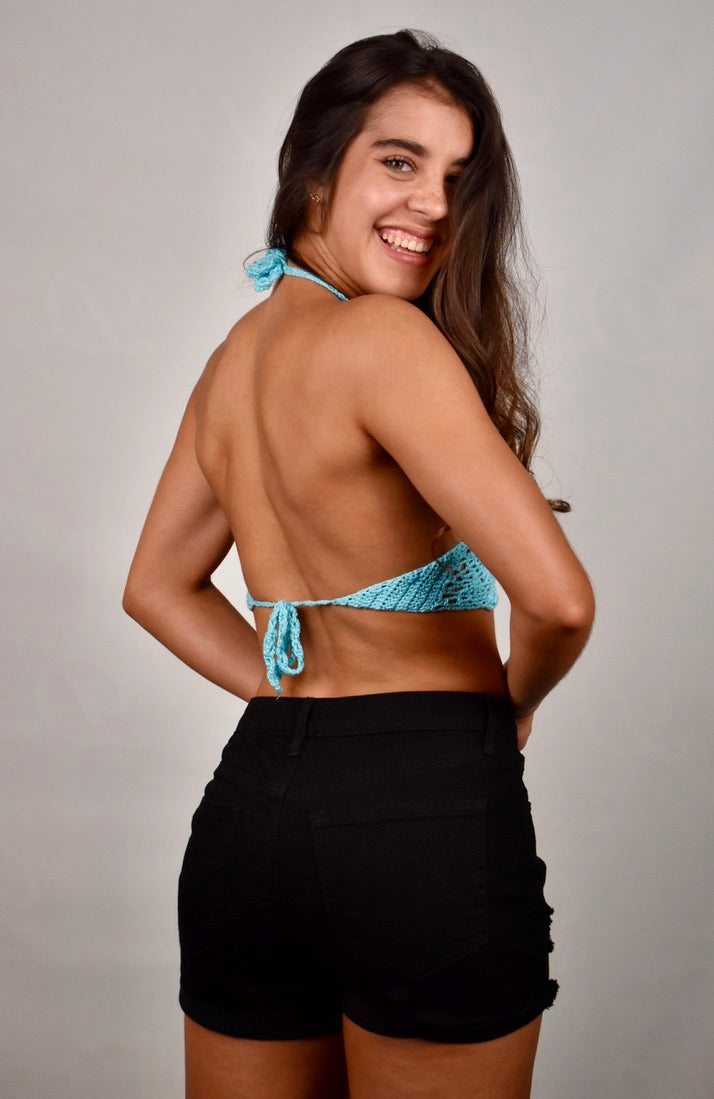 Sam's Triangle Halter Crop Top