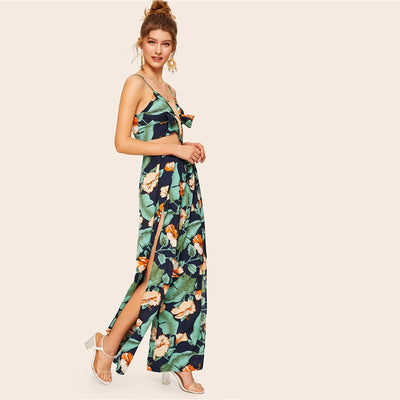 Cassidie's Boho Knot Cami Crop Top and Wrap Split Pants Set