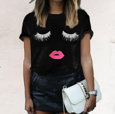 Hallie's Eyelash and Red Lip Print T-Shirts