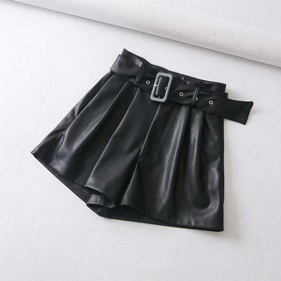 Cassie's Leather Belted Shorts