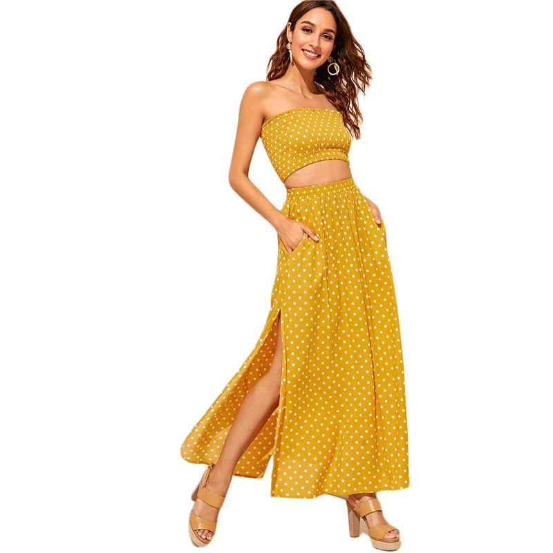 Amelia's Boho Polka Dot Crop and Maxi Skirt Set