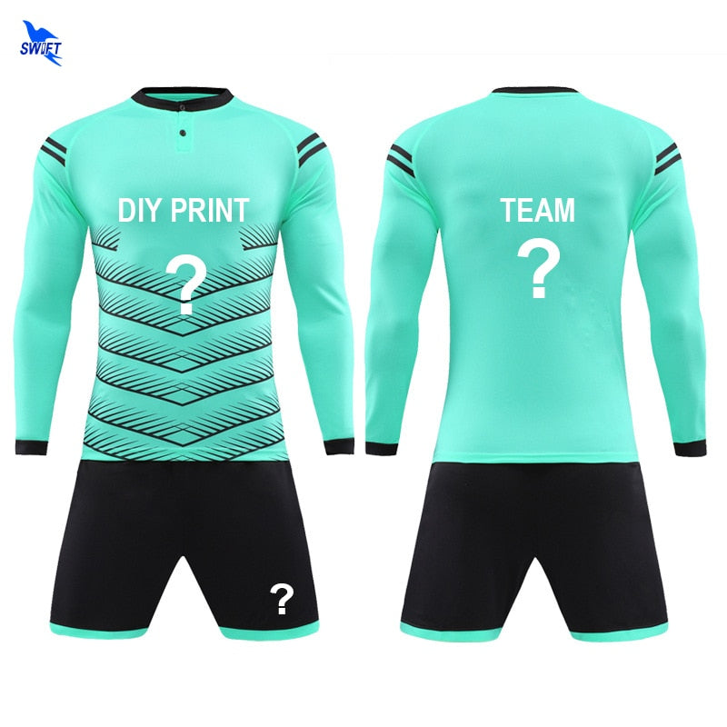 NEW Customize Printing Long Sleeve Soccer Sets Men Boys Kids Football Jerseys Kit Team Sports Training Suits Goalkeeper Uniforms
